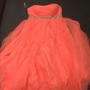 Peach color prom dress